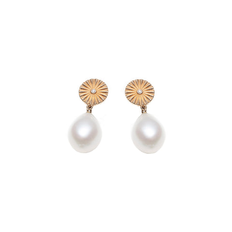 Wheel Pearl Earrings by With Love Darling for Broken English Jewelry