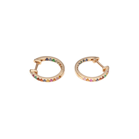 Sapphire Studded Hoops by With Love Darling for Broken English Jewelry