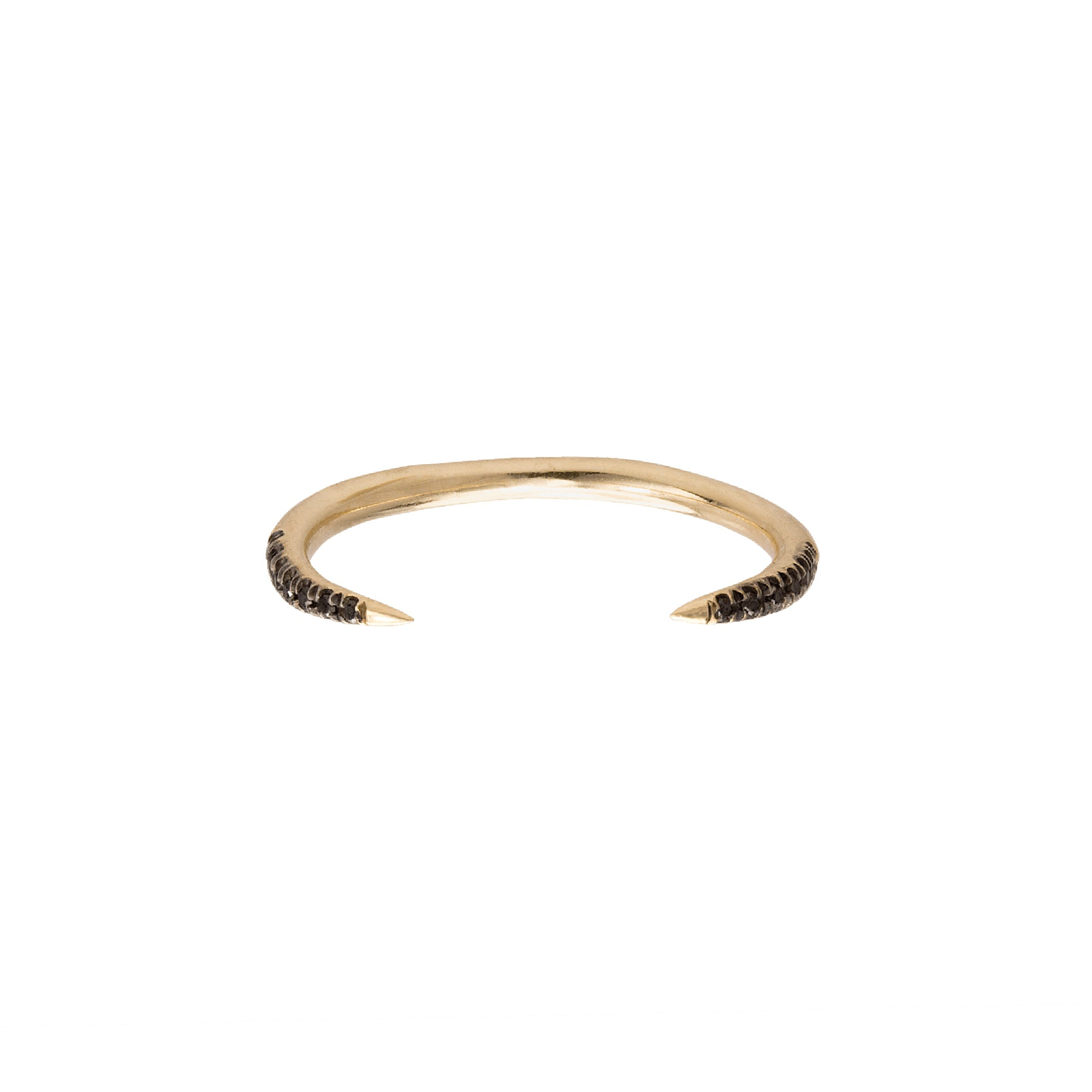 gold black diamond Micro Pave Open Slice Ring by Wwake for Broken English Jewelry