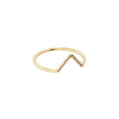 Gold White Diamond Micro Pave Triangle Ring by Wwake for Broken English Jewelry