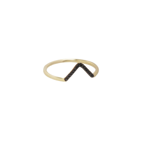 gold Black Diamond Pave Triangle Ring by Wwake for Broken English Jewelry