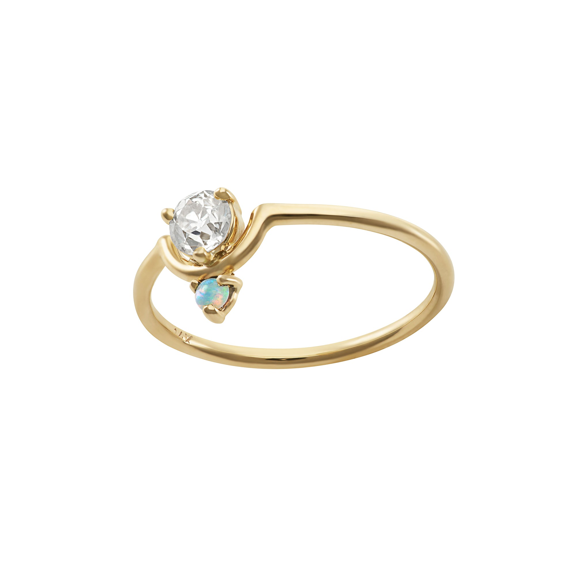 Nestled Diamond & Opal Ring - Wwake - Rings | Broken English Jewelry