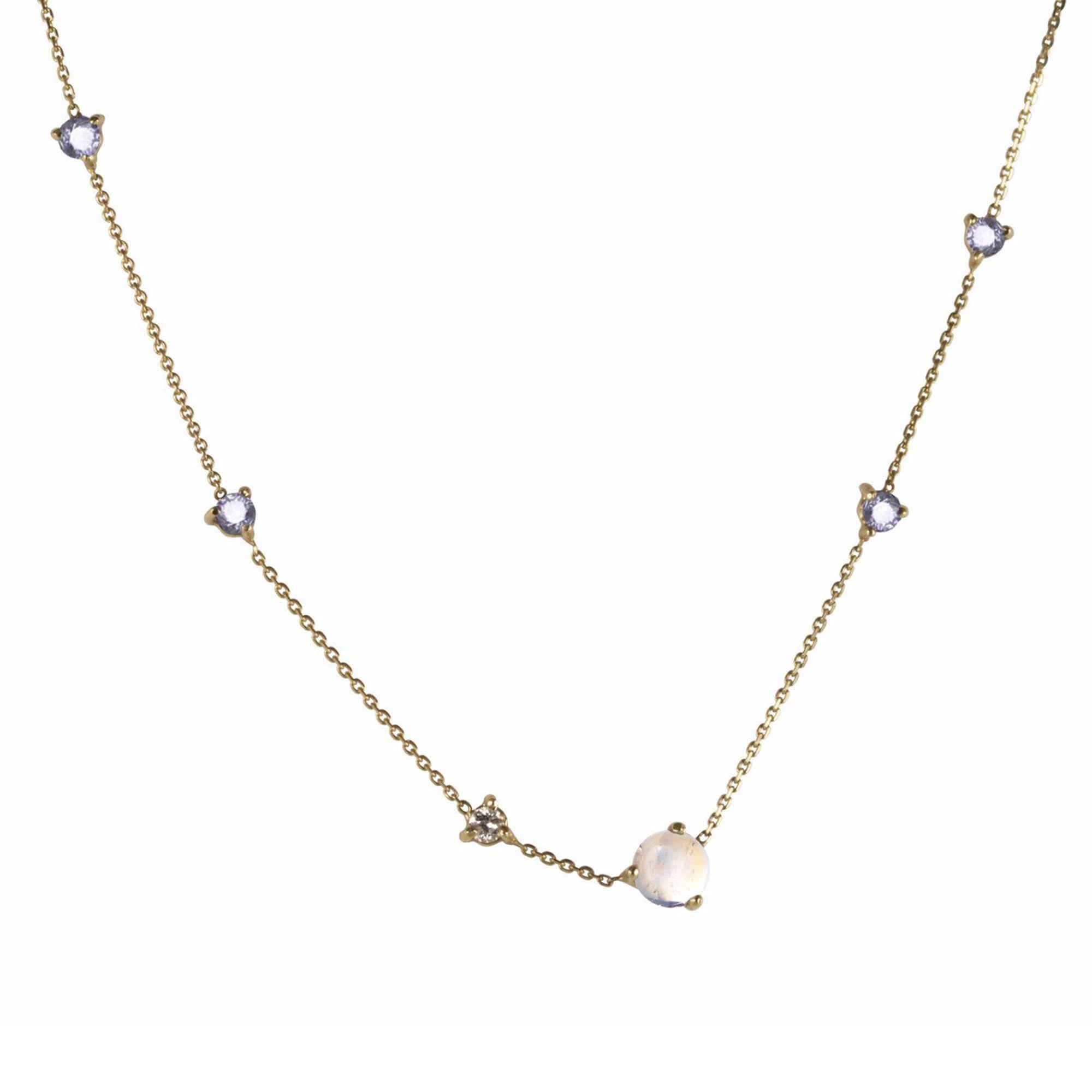 gold moonstone white diamond sapphire Linear Chain Necklace by Wwake for Broken English Jewelry