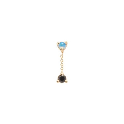 Gold Opal black diamond Single Small Two Step Chain Earring by Wwake for Broken English Jewelry