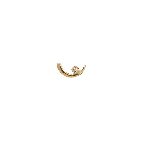 Gold White Diamond Arc Lineage Earring by Wwake for Broken English Jewelry