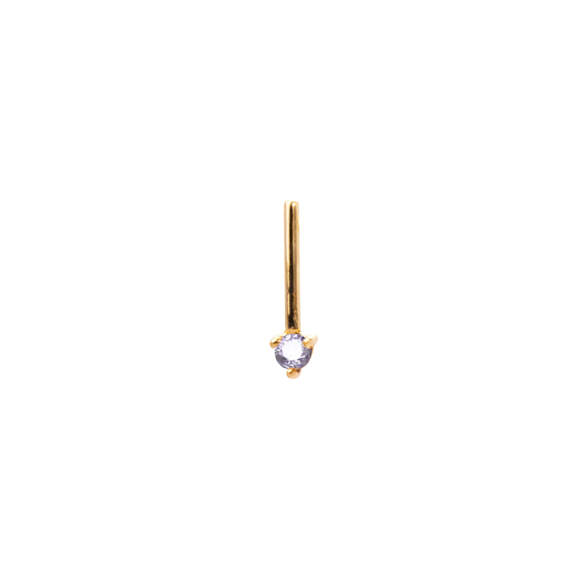 Gold White Diamond One Step Bar Earring by Wwake for Broken English Jewelry