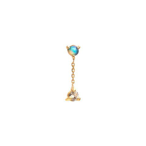 Two Step Opal & Diamond Chain Earring - Wwake - Earrings | Broken English Jewelry