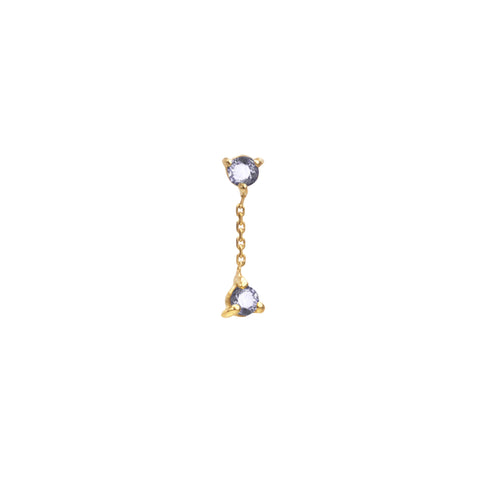 gold Two Step Sapphire Chain Earring by Wwake for Broken English Jewelry