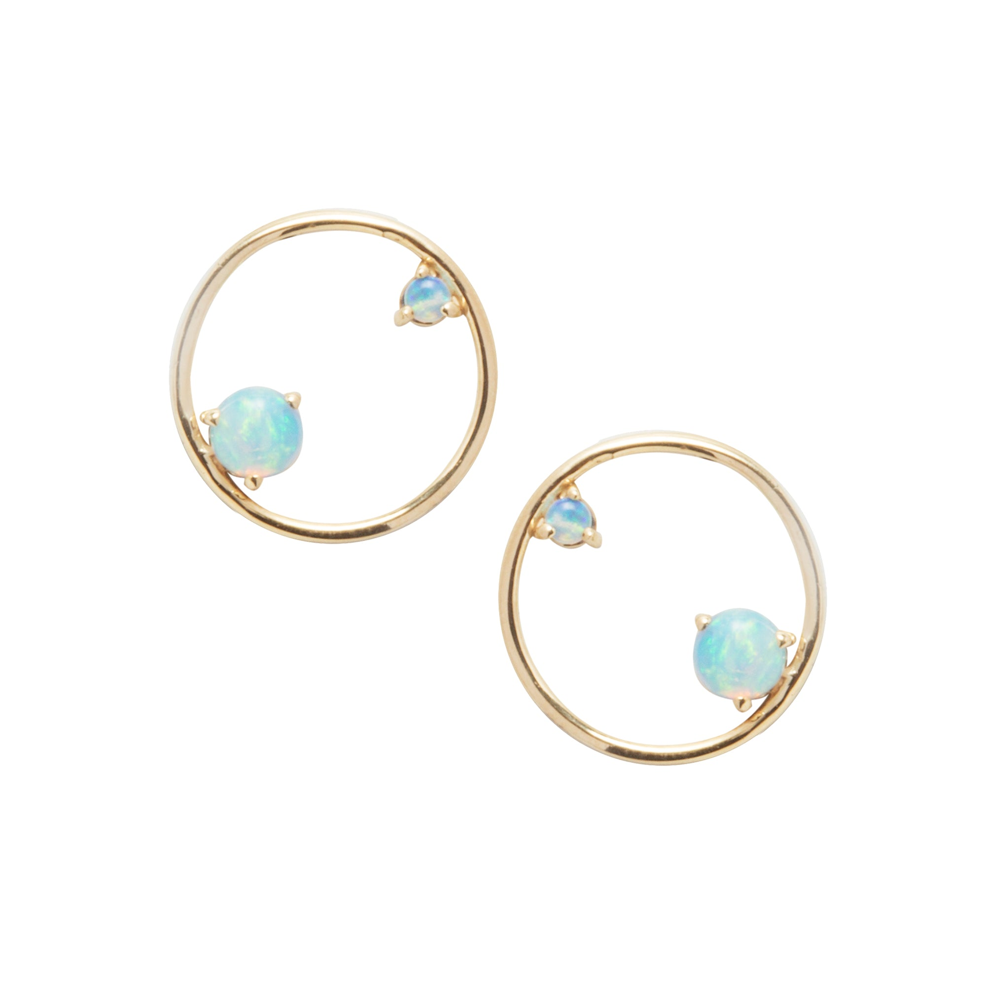 Gold Opal Circle Earrings by Wwake for Broken English Jewelry