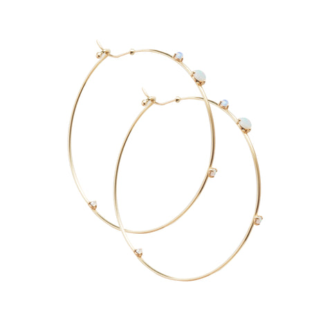 Gold Opal white diamond Four Step Hoops by Wwake for Broken English Jewelry