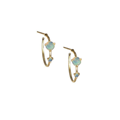 gold Small Two-Step Opal Hoops by Wwake for Broken English Jewelry
