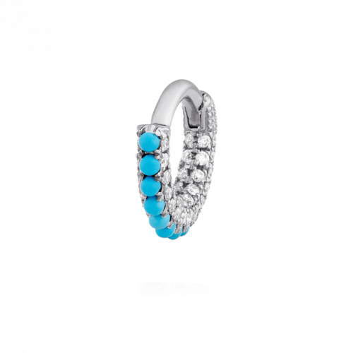 Maria Tash 5mm Turquoise and Diamond Pave Hoop - Earrings - Broken English Jewelry