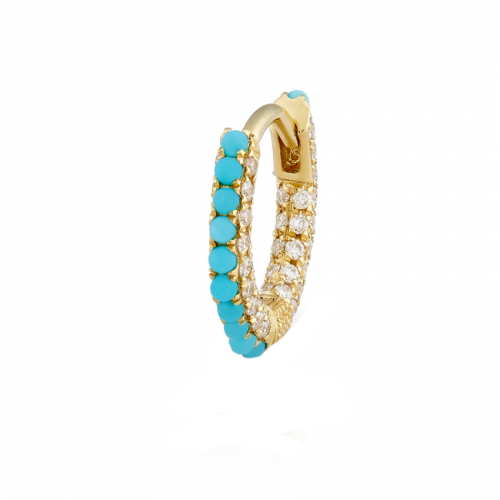 Maria Tash 6.5mm Turquoise and Diamond Pave Hoop - Earrings - Broken English Jewelry