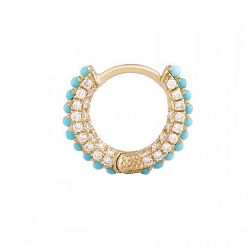 6.5mm Turquoise and Diamond Pave Hoop