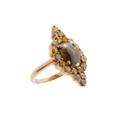 Gold Oval Diamond Galaxy Ring by Xiao Wang for Broken English Jewelry
