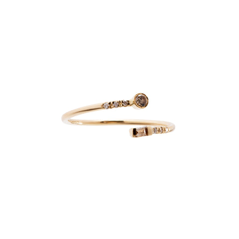 Gold Diamond Double Split Ring by Xiao Wang for Broken English Jewelry