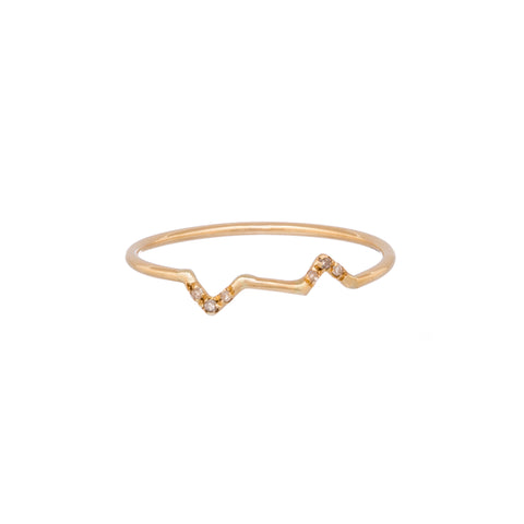 Gold Diamond Gravity Triangle Stack Ring by Xiao Wang for Broken English Jewelry