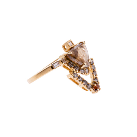 Gold Diamond Comet Ring by Xiao Wang for Broken English Jewelry