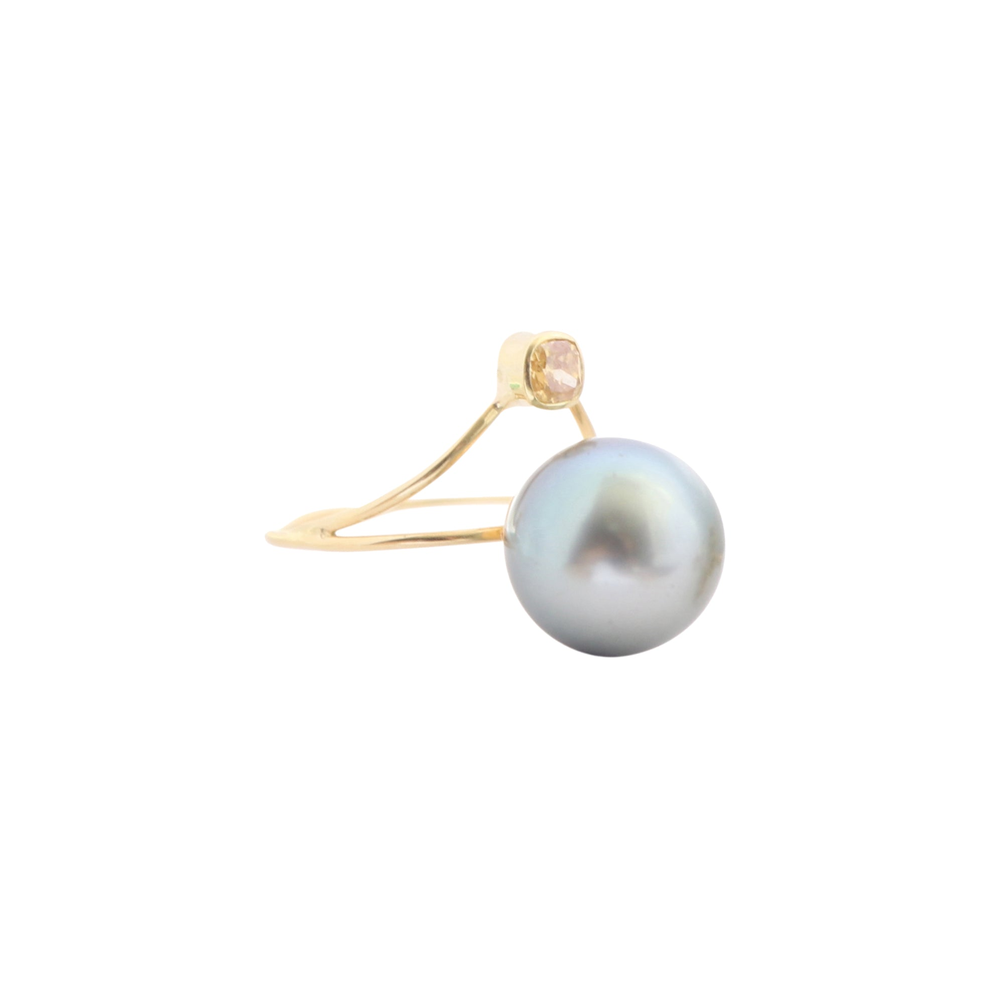 Gold Diamond Pearl Galaxy Ring by Xiao Wang for Broken English Jewelry