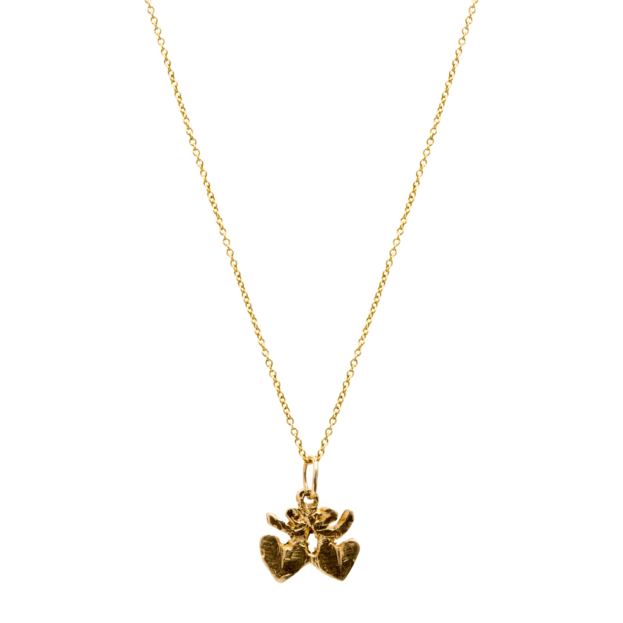 Gold Mini Double Heart Pendant by Xiao Wang for Broken English Jewelry