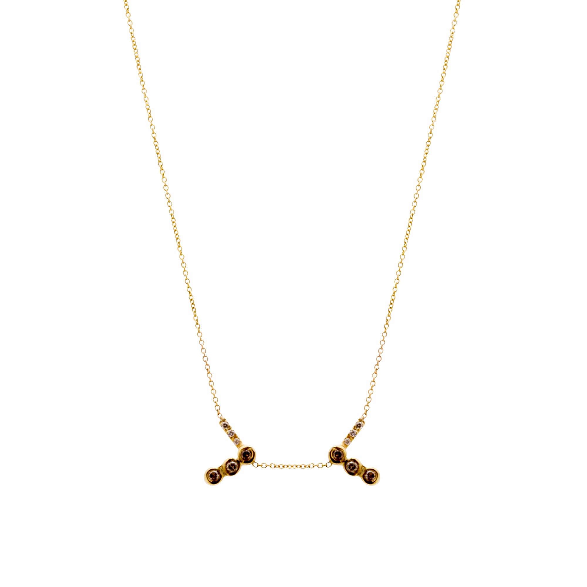 Gold Diamond Gravity Necklace by Xiao Wang for Broken English Jewelry