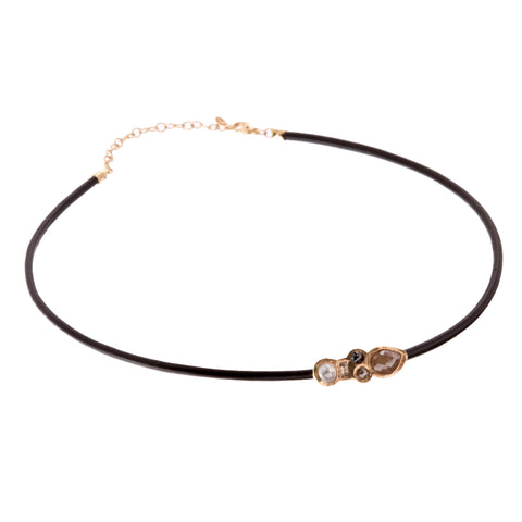 Gold Leather Five Diamond Stardust Choker by Xiao Wang for Broken English Jewelry