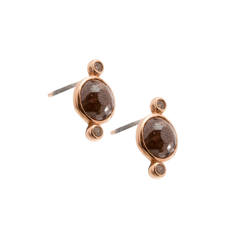 Gold Diamond Galaxy Round Studs by Xiao Wang for Broken English Jewelry