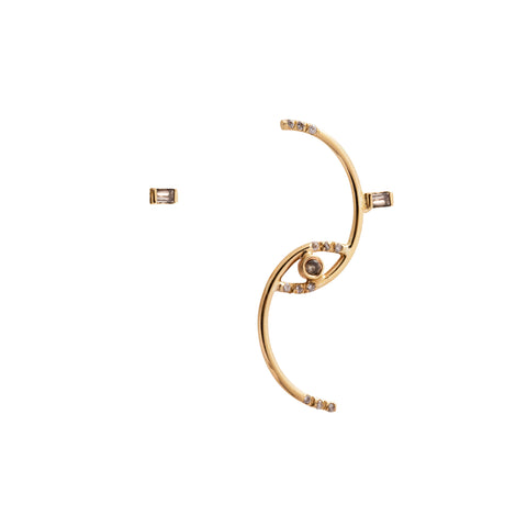 Gold Diamond Gravity Wave Mismatched Earring by Xiao Wang for Broken English Jewelry