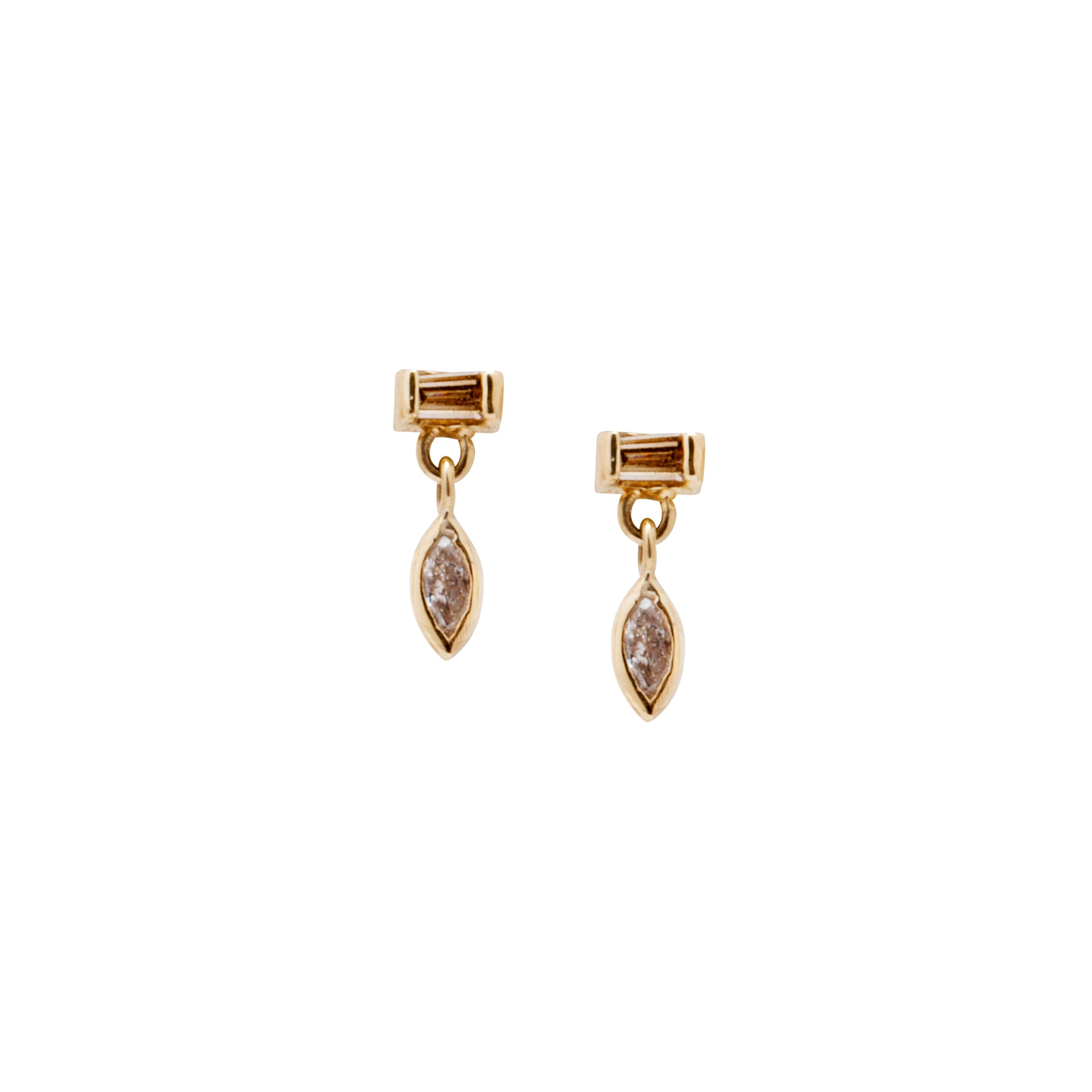 Gold Diamond Gravity Dangle Studs by Xiao Wang for Broken English Jewelry