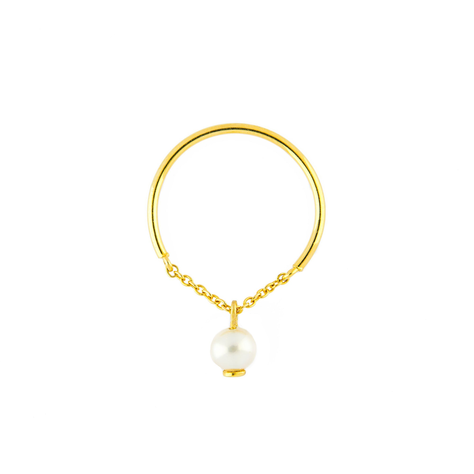 Pearl Half Chain Ring by Yi Collection for Broken English Jewelry