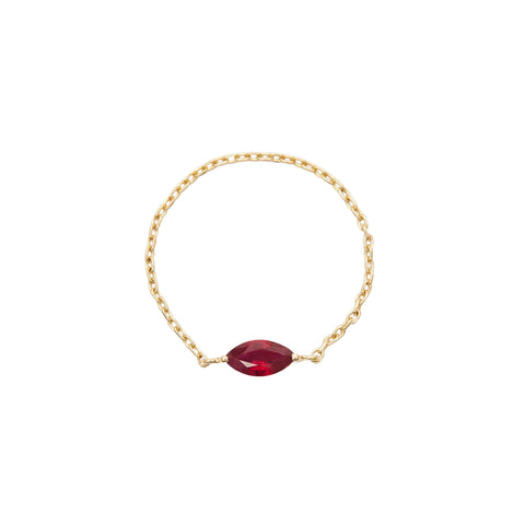 Ruby Marquis Chain Ring by Yi Collection for Broken English Jewelry