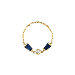 Sapphire & Diamond Bow Tie Chain Ring by Yi Collection for Broken English Jewelry
