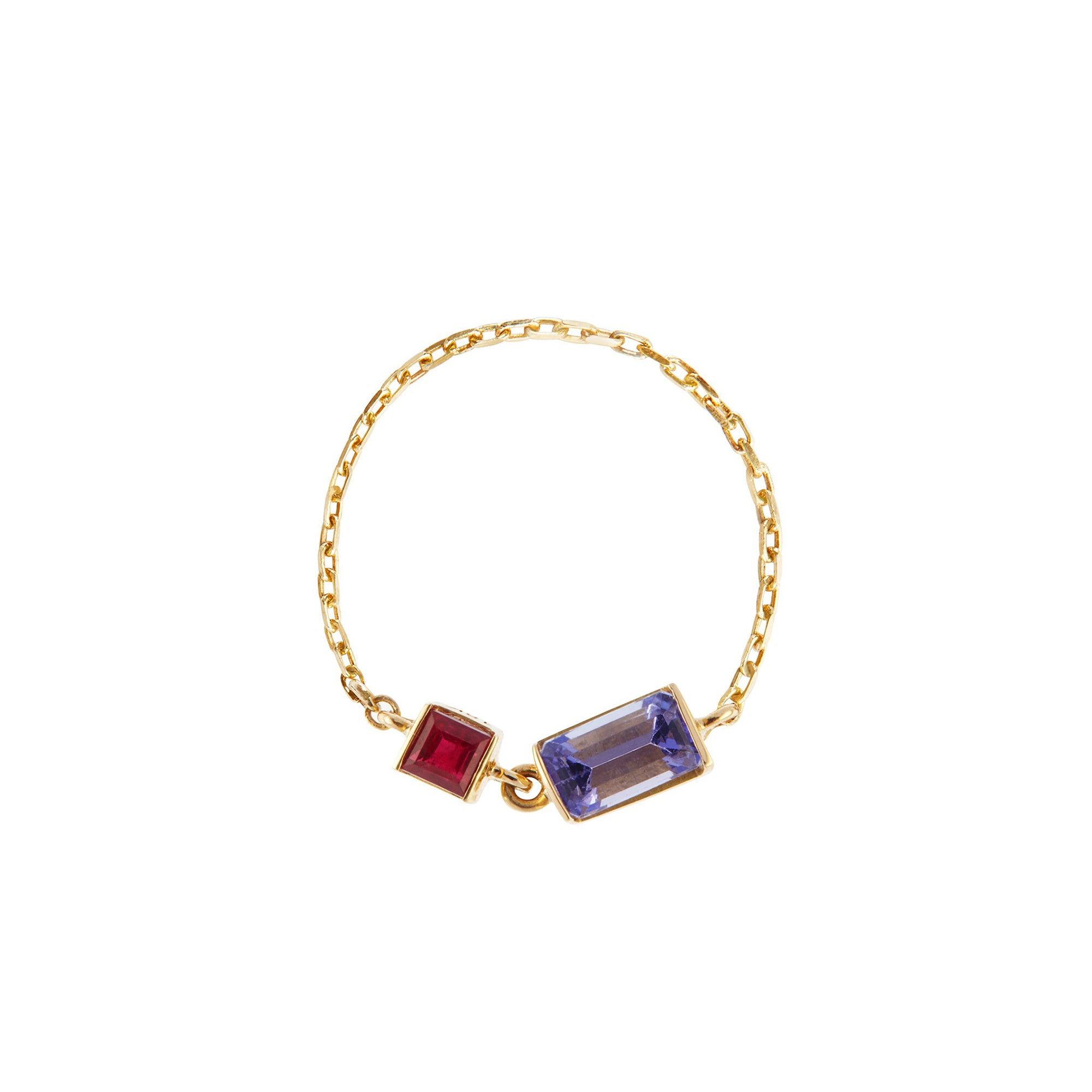 Tanzanite & Ruby Chain Ring by Yi Collection for Broken English Jewelry
