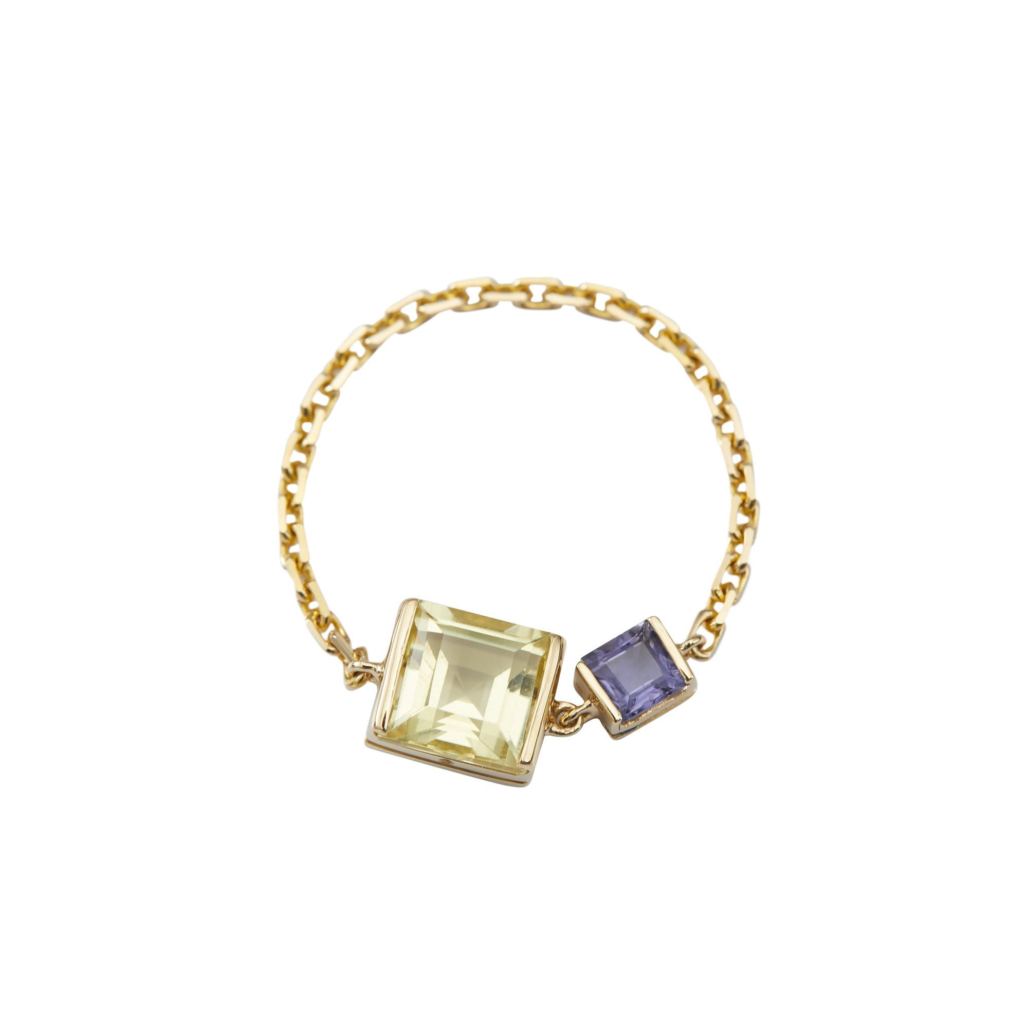 Lemon Quartz & Tanzanite Chain Ring by Yi Collection for Broken English Jewelry