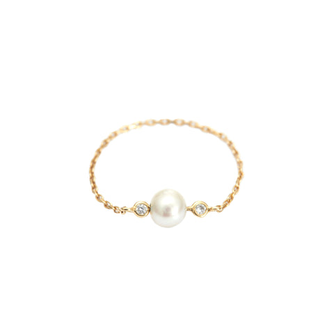 Pearl & Diamond Chain Ring by Yi Collection for Broken English Jewelry