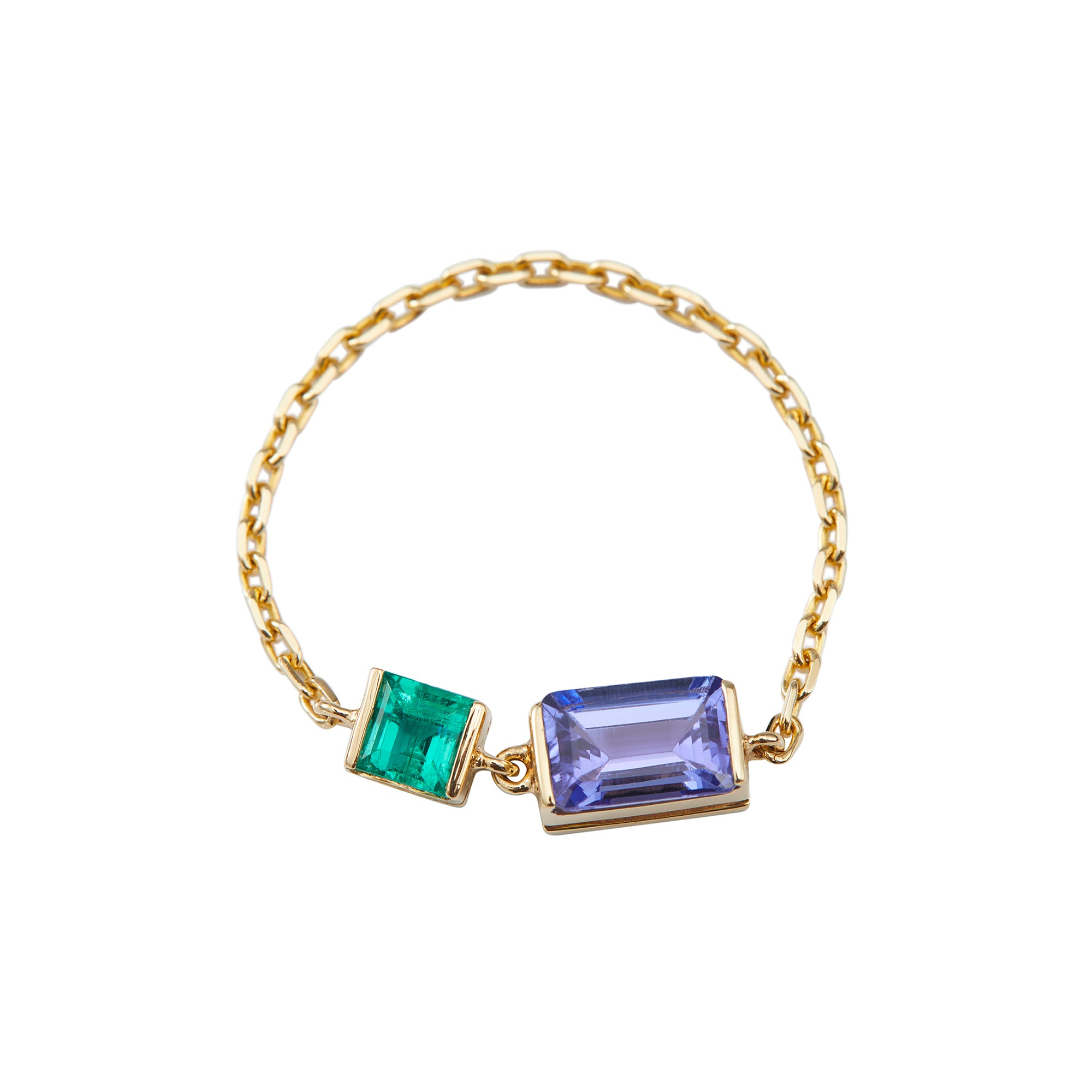 Tanzanite & Emerald Chain Ring by Yi Collection for Broken English Jewelry