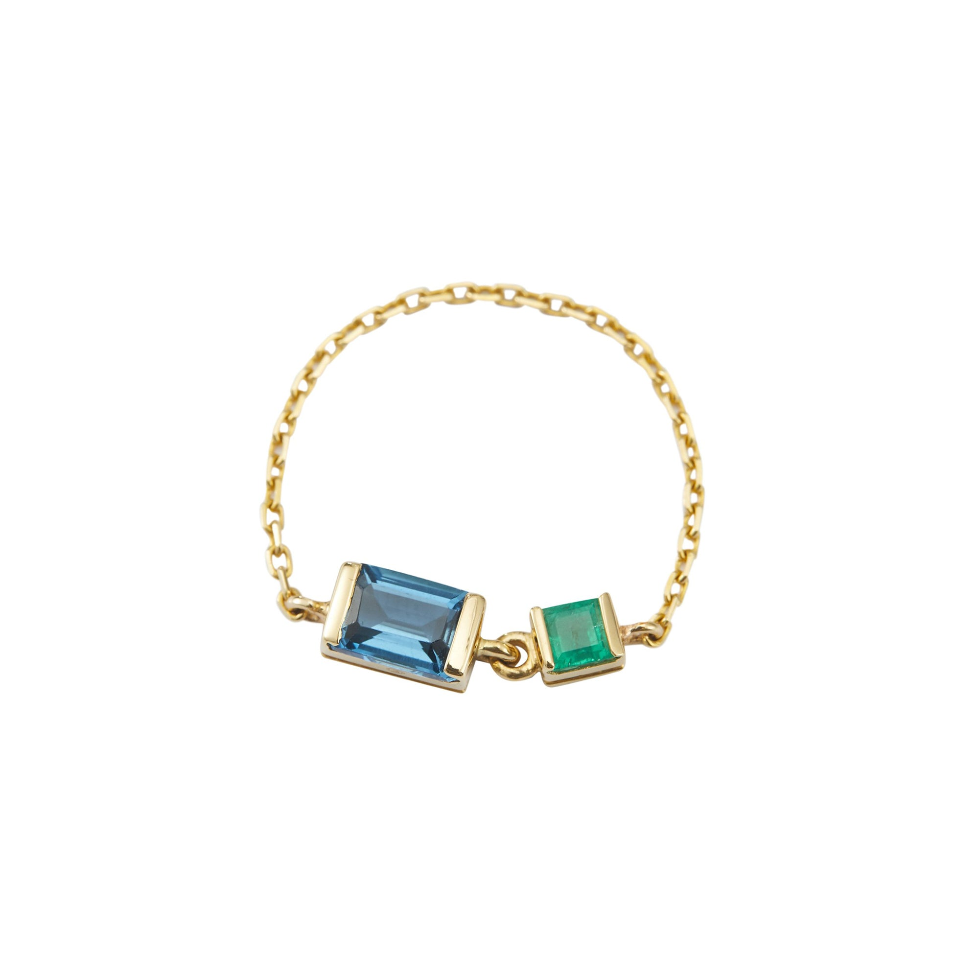 Topaz & Emerald Chain Ring by Yi Collection for Broken English Jewelry