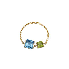 Topaz & Peridot Chain Ring by Yi Collection for Broken English Jewelry