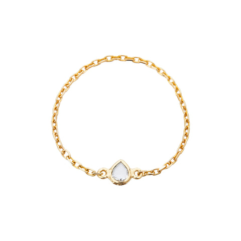 Diamond Rose-Cut Chain Ring by Yi Collection for Broken English Jewelry