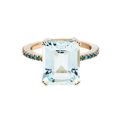 Aquamarine & Blue Diamond Ring by Yi Collection for Broken English Jewelry