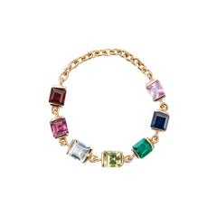 Rainbow Stones Chain Ring by Yi Collection for Broken English Jewelry