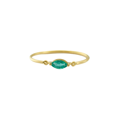 Marquise Emerald Hard Ring - Yi Collection - Ring | Broken English Jewelry