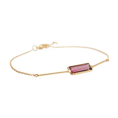 Pink Tourmaline Bar Bracelet by Yi Collection for Broken English Jewelry