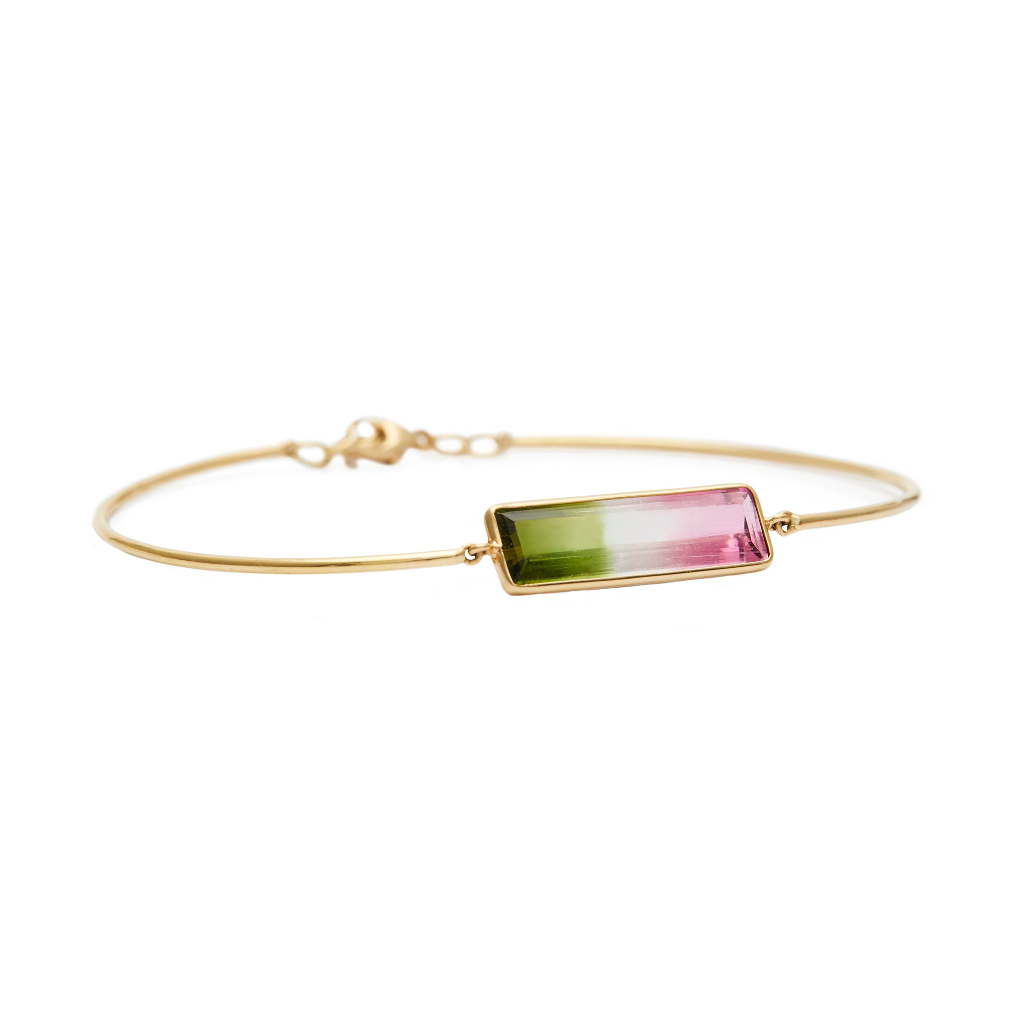 Watermelon Tourmaline Bangle Bracelet by Yi Collection for Broken English Jewelry