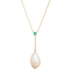 Pearl & Emerald Pendant Necklace - Yi Collection - Necklace | Broken English Jewelry