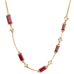 Ruby & Yellow Diamond Bar Necklace - Yi Collection - Necklace | Broken English Jewelry