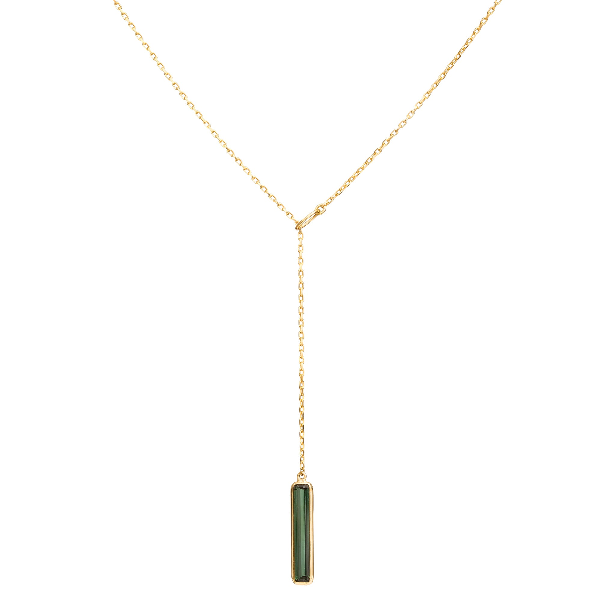 Tourmaline Lariat Necklace - Yi Collection - Necklace | Broken English Jewelry