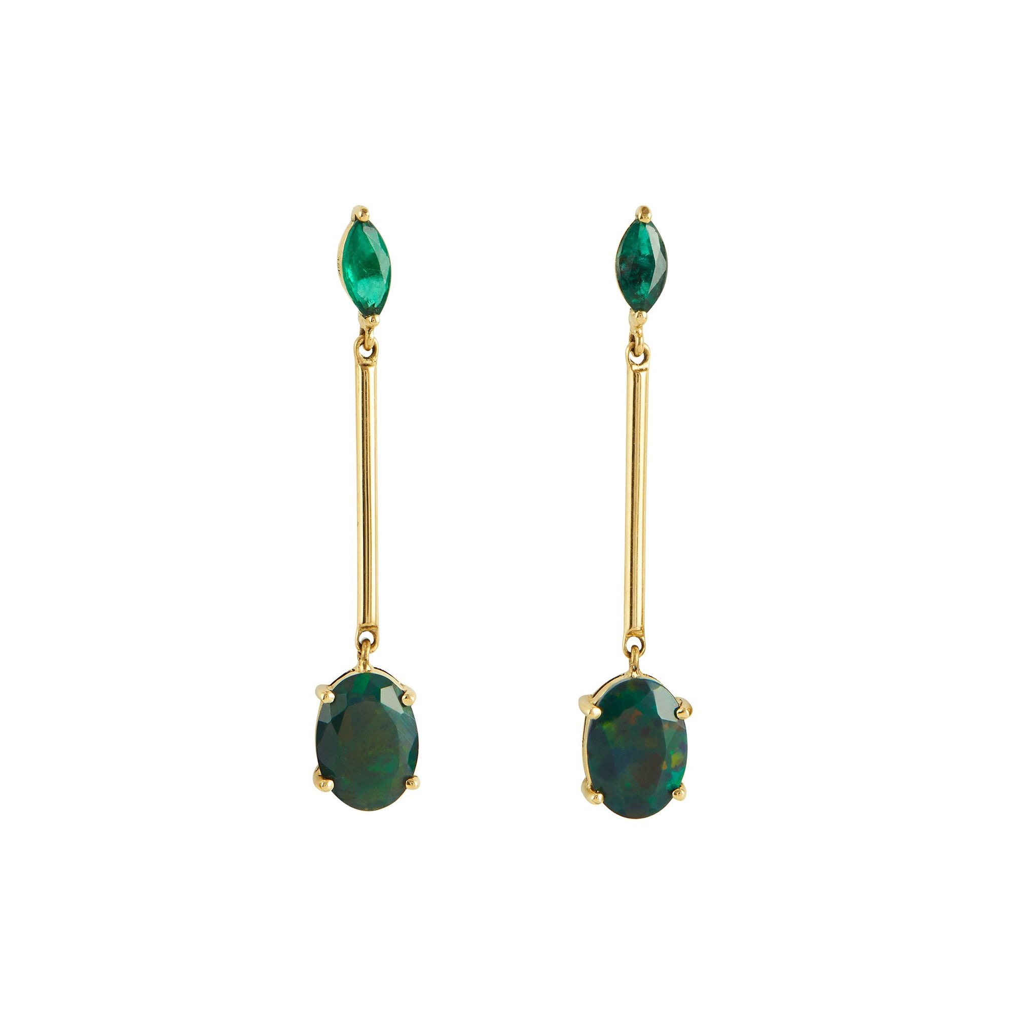 Emerald & Black Opal Bar Earrings by Yi Collection for Broken English Jewelry