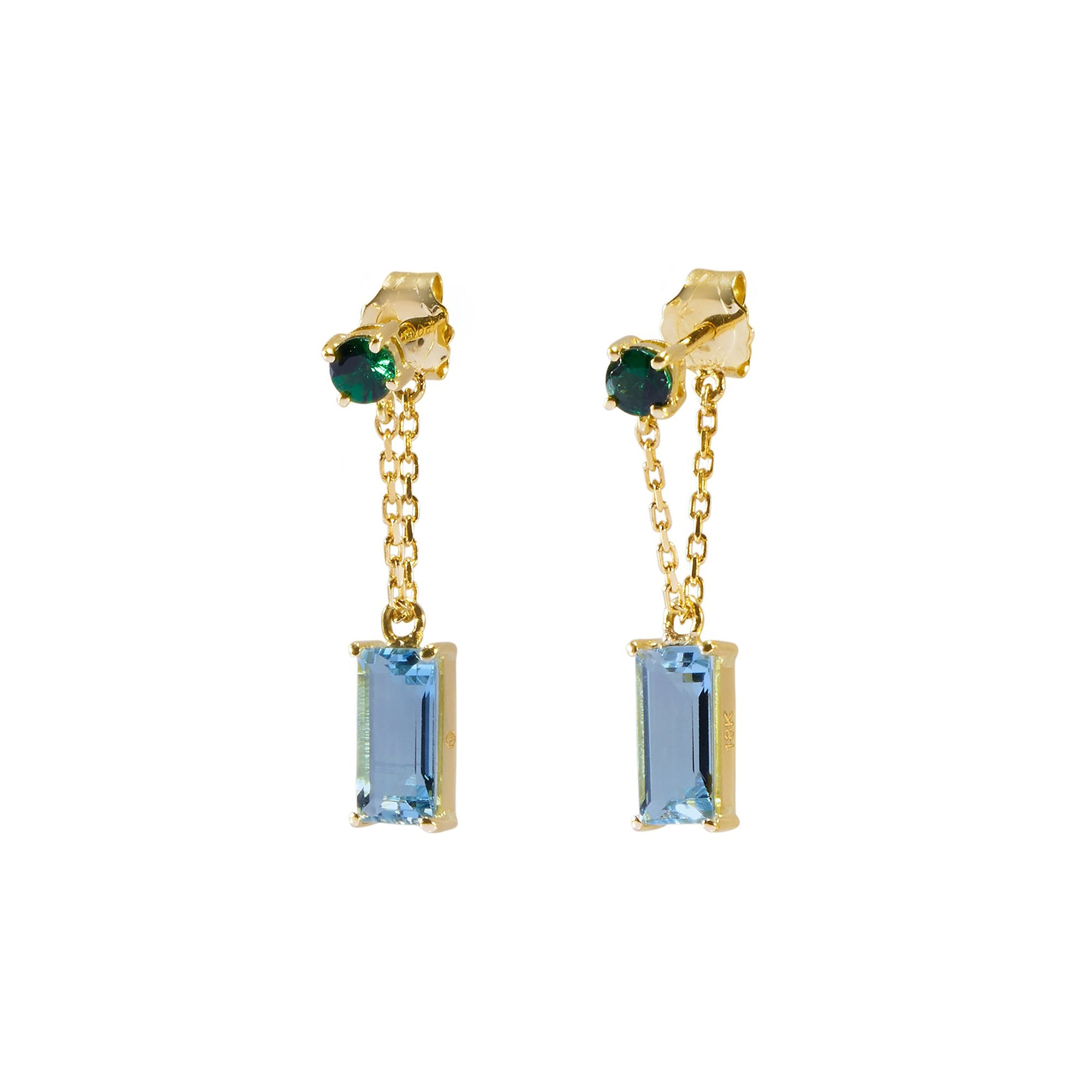 Tsavorite and Aquamarine Earrings by Yi Collection for Broken English Jewelry