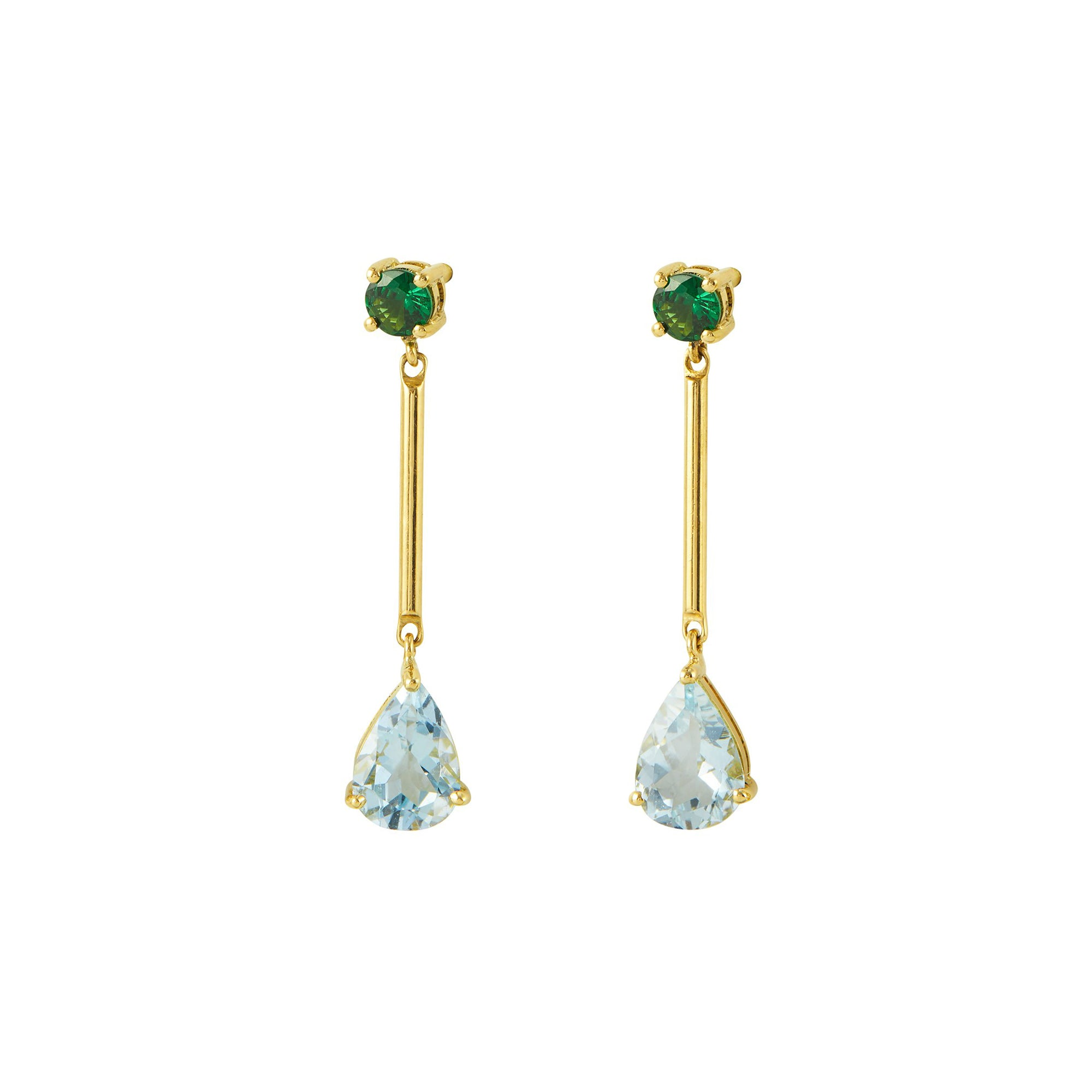Tsavorite and Aquamarine Raindrop Earrings by Yi Collection for Broken English Jewelry